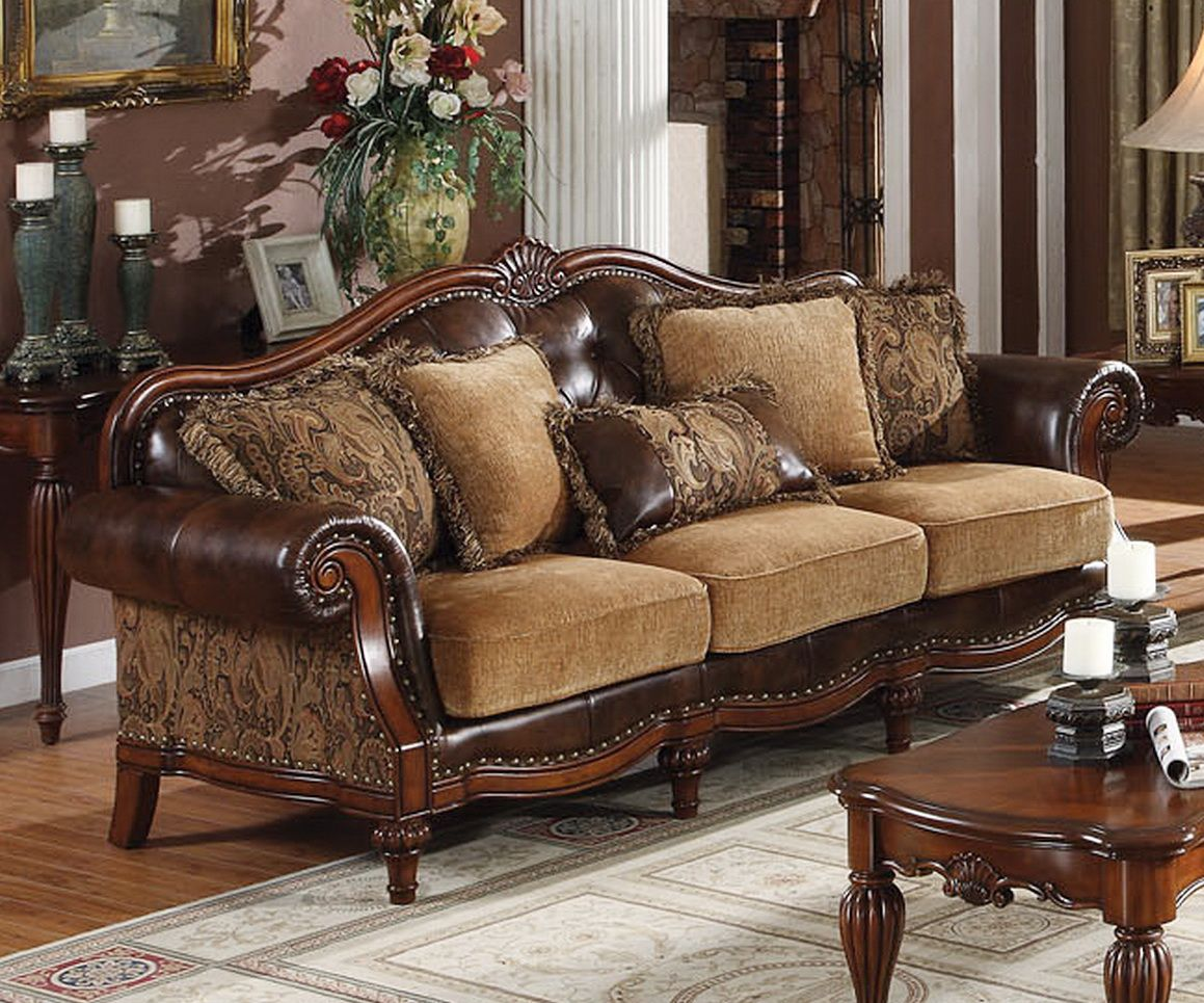 Traditional sofas dreena traditional bonded leather and Chenille sofa and loveseat