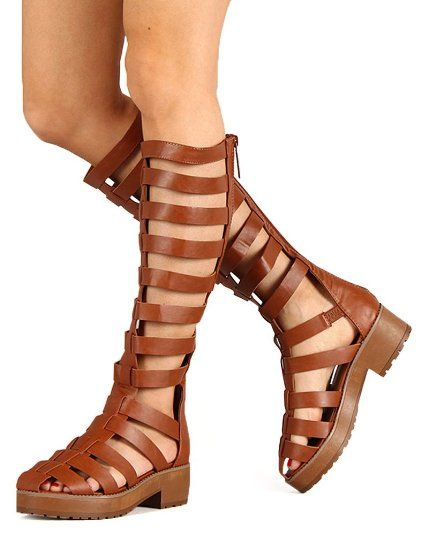 2c34def85ed4 Amazon.com  Breckelles AH44 Women Leatherette Strappy Gladiator Knee High  Platform Sandal - Tan  Shoes