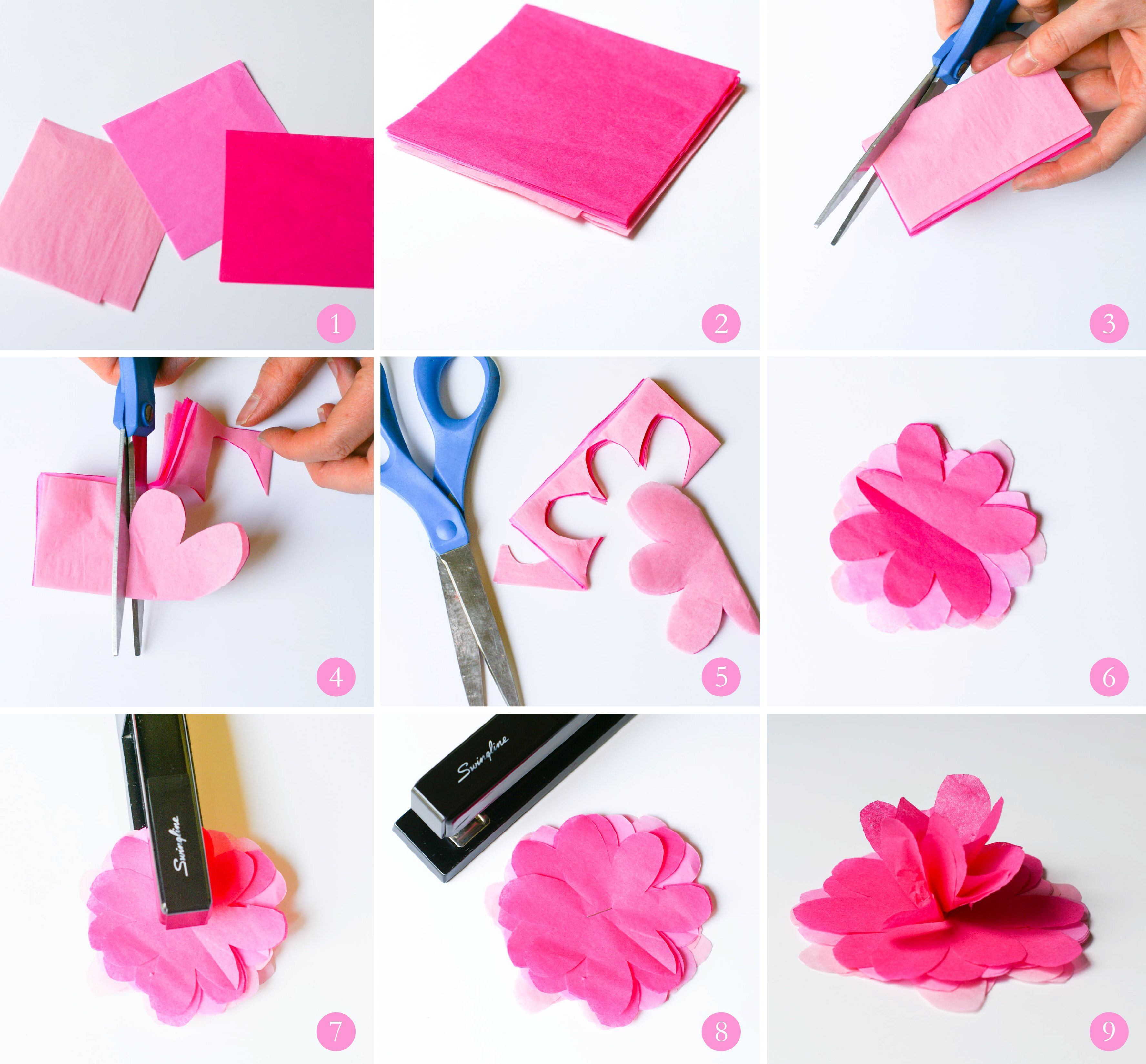 Step by step tutorial for tissue paper flowers | Clara's 9th ...