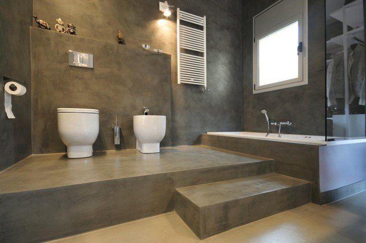 béton ciré salle de bain comme revêtement de sol et parement mural