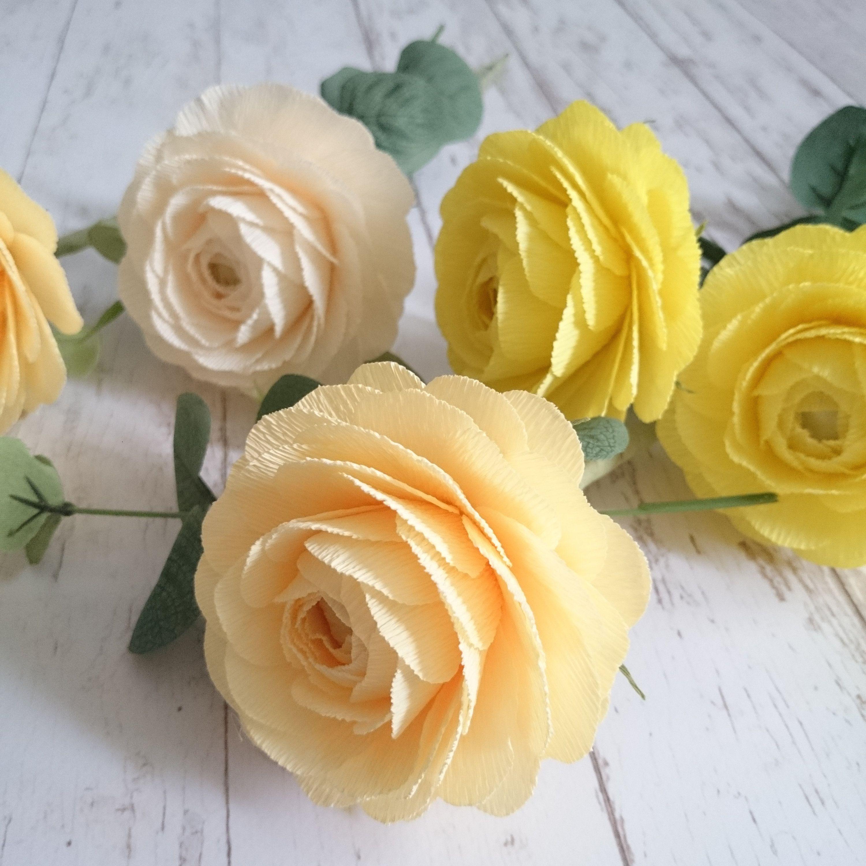 Yellow cream paper ranunculus paper flowers paper flower set crepe