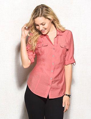 roz & ALI™ Button-Down Pocket Blouse