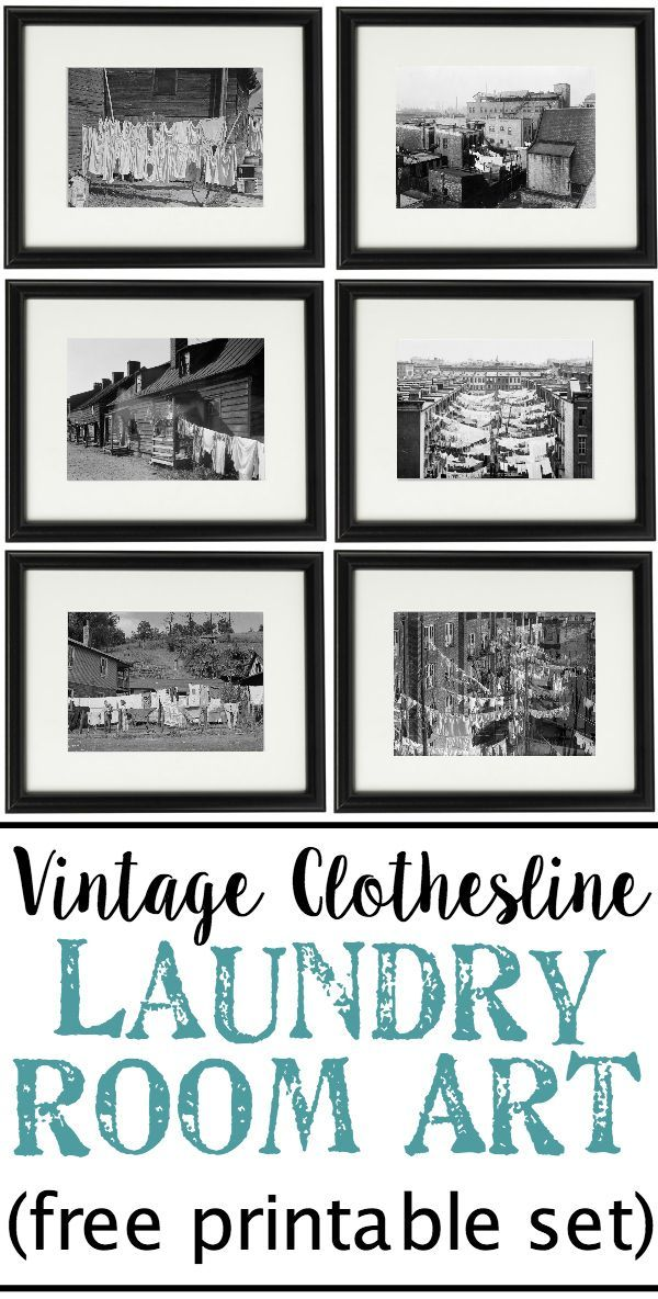 Vintage Clothesline Laundry Room Art Printable Set Blesserhouse A Free Able Of 6 Black White Cityscape