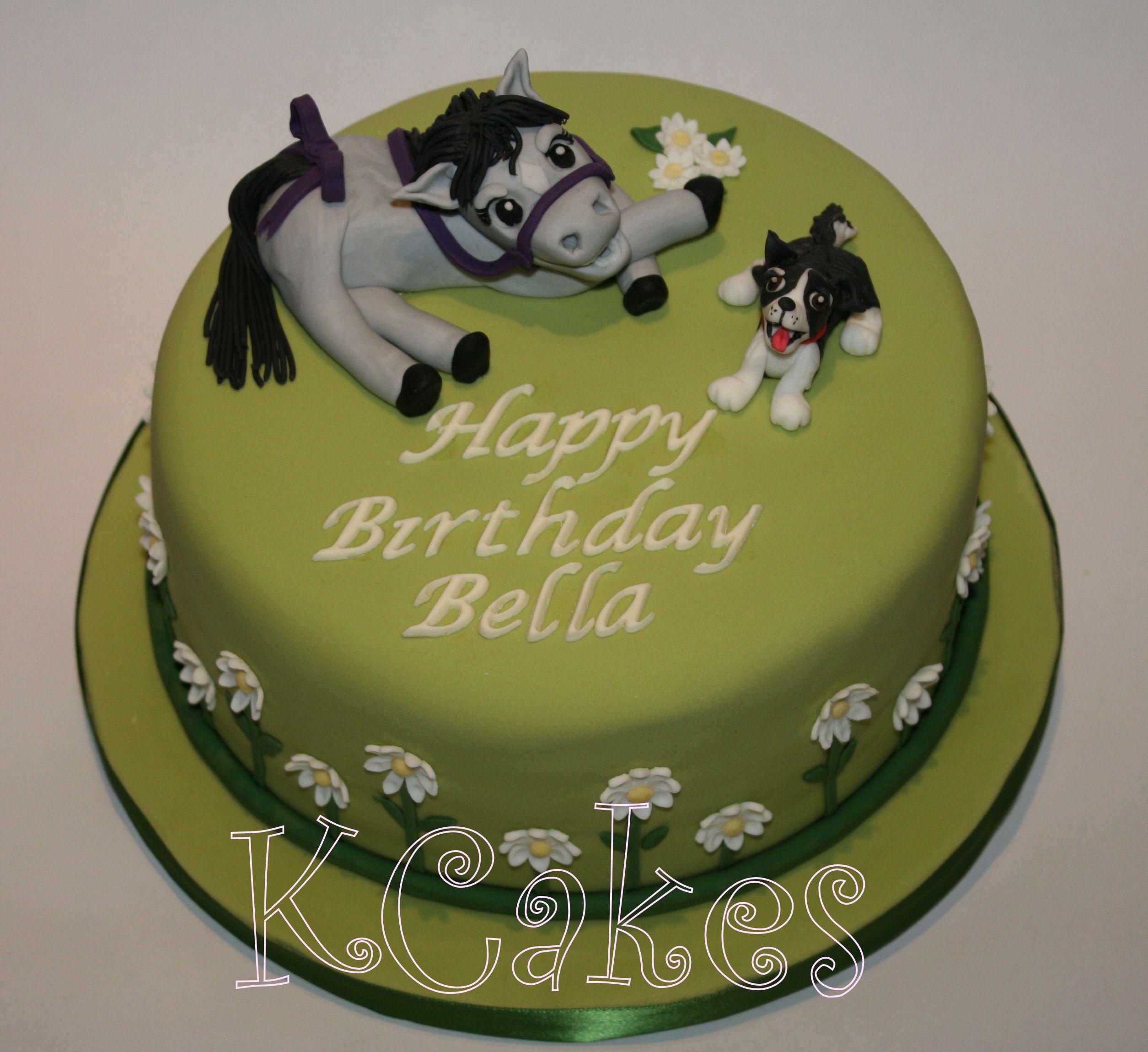 Bellas pets fondant grey horse and irish sheep dog