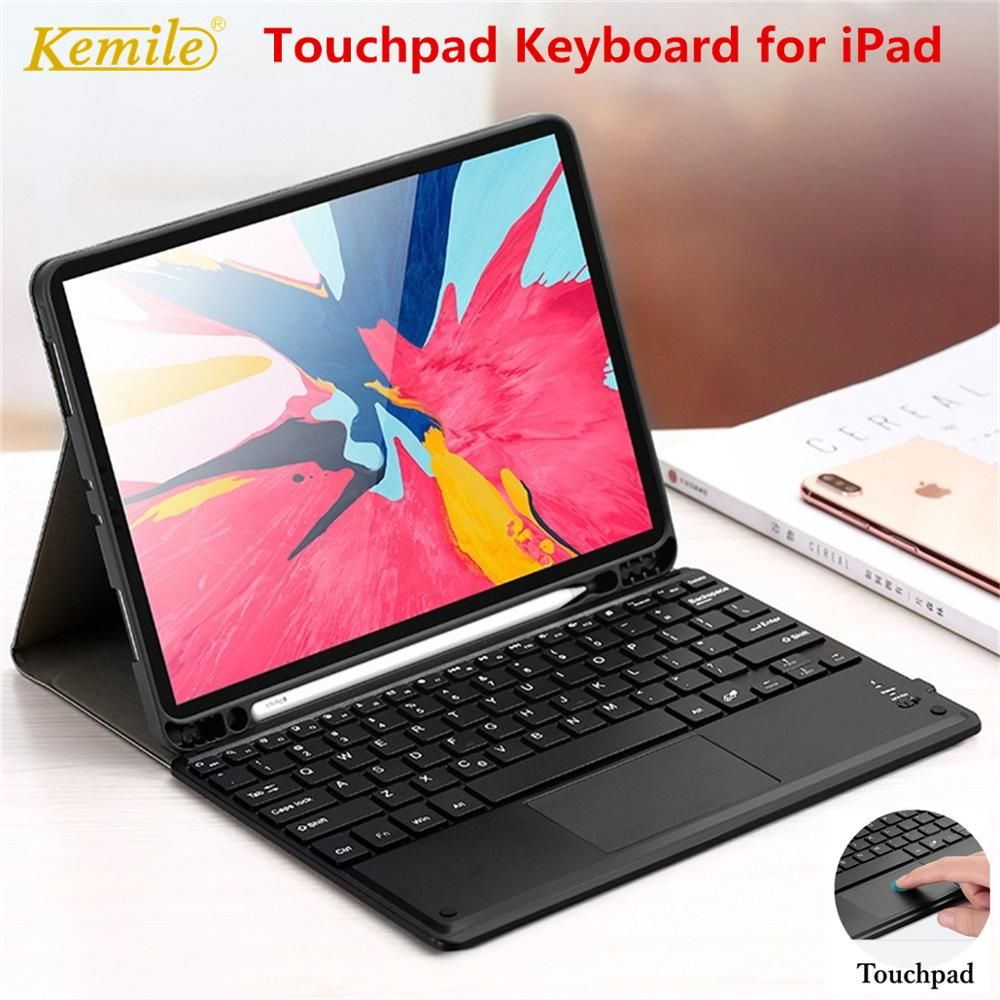 Touchpad Keyboard Case For Ipad 7th 10 2 2019 Case W Pencil Holder Stand Cover For Ipad Pro 10 5 Air 3 10 5 Case Mouse Keyboard Case Tablet Keyboard Ipad Case