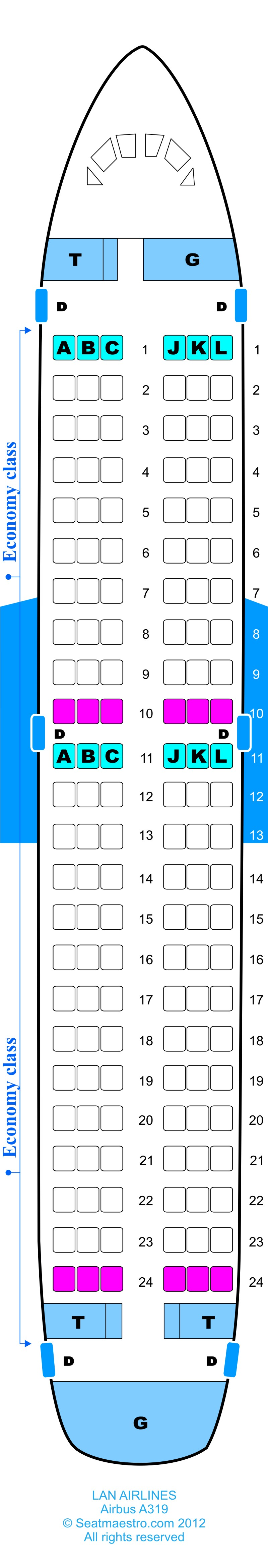Detailed seat map Skyservice Airlines Airbus Find the best airplanes seats information on legroom recline and in flight entertainment using our detailed