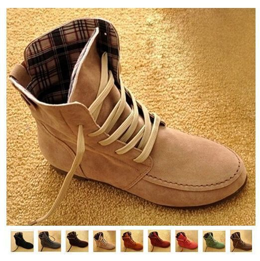 SZ US5-9  2017 Women Girls Fashion Style Lace Up Boots Flat Ankle Shoes