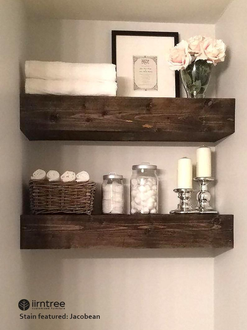 Free Shipping Wood Floating Shelves 10 Inches Deep Etsy In 2020 Floating Shelves Small Bathroom Storage Solutions Wood Floating Shelves