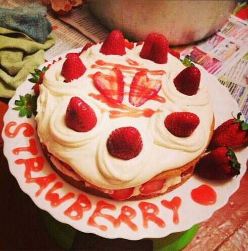 Japanese strawberry shortcake... having fun making this with my best friend for fathers' day.. studying abroad is not an excuse for not celebrating it