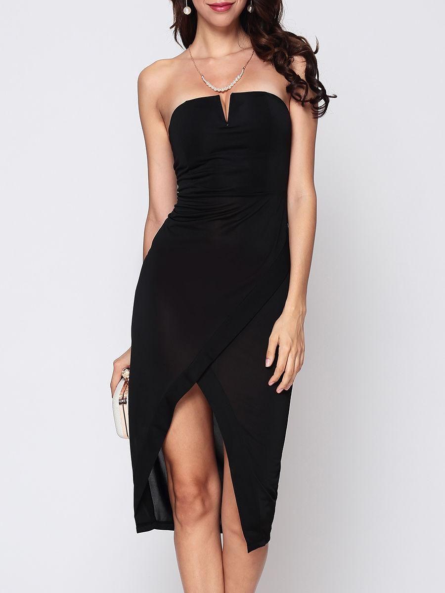1e40401b26  Fashionmia -  Fashionmia Plain Split Sexy Tube Bodycon-dress - AdoreWe.com