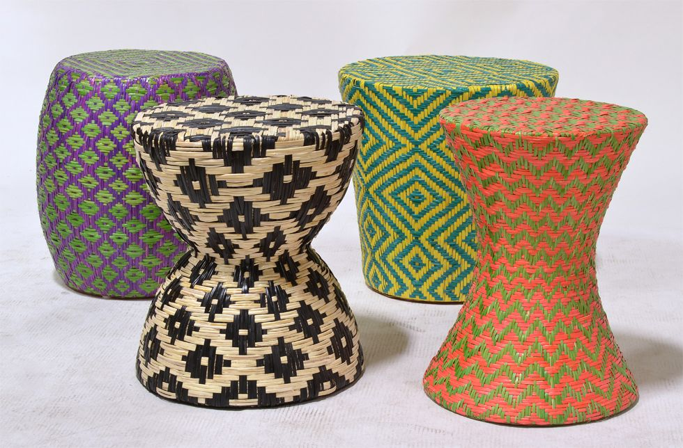 6294 79 Woven Rattan Tapered Round Stool Table 6291 15