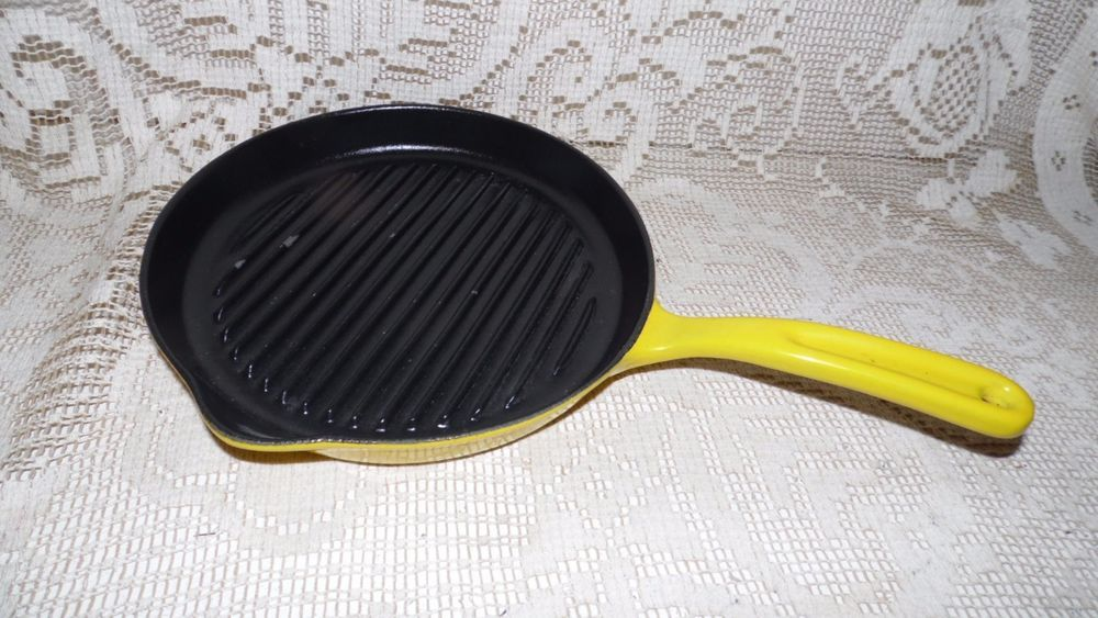 Vintage Copco Denmark 105 Enamel Over Cast Iron Grill Griddle Skillet Yellow Cast Iron Grill Vintage Cookware Yellow Enamel