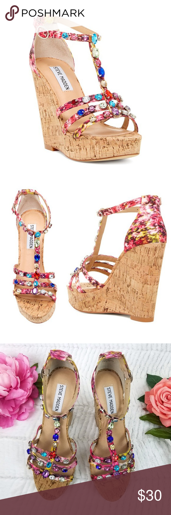9b02967718679 Steve Madden Faara Wedge Jewel Sandal 7 M Pink Very pretty Steve Madden  Cork Wedge Jeweled