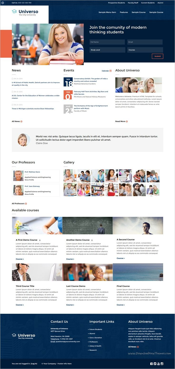 Universo is an excellent responsive #Moodle theme for #colleges and ...