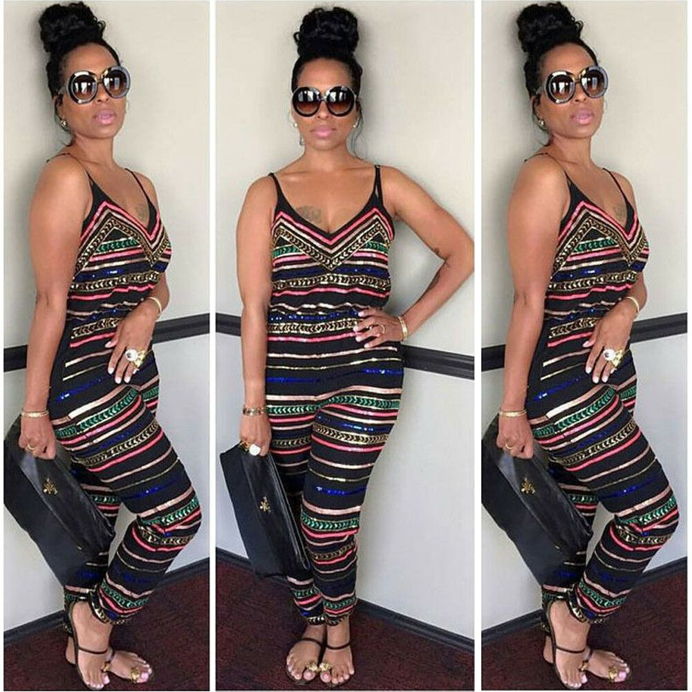 Sleeveless Playsuit Jumpsuit Trousers V-Neck Clubwear Party Bodycon Women Romper