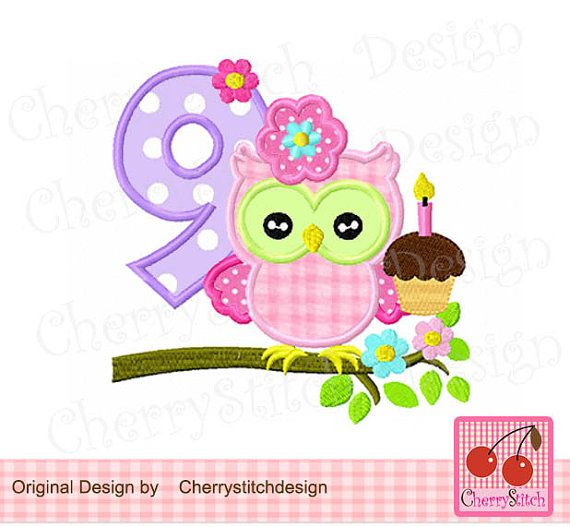 Eule Nummer 9 Geburtstag Maschinenstickerei Applique Design 4