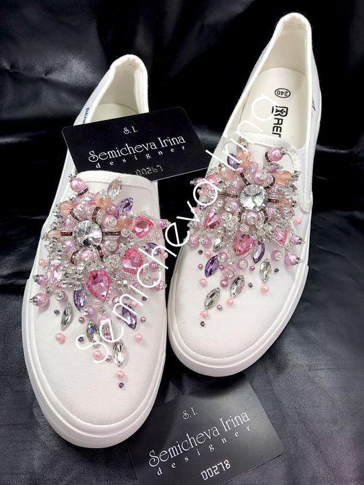 252f1fc71 Обувь ручной работы. Ярмарка Мастеров - ручная работа. Купить Слипоны в  стразах. Handmade. Слипоны, слипоны в камнях, слипоны с вышивкой