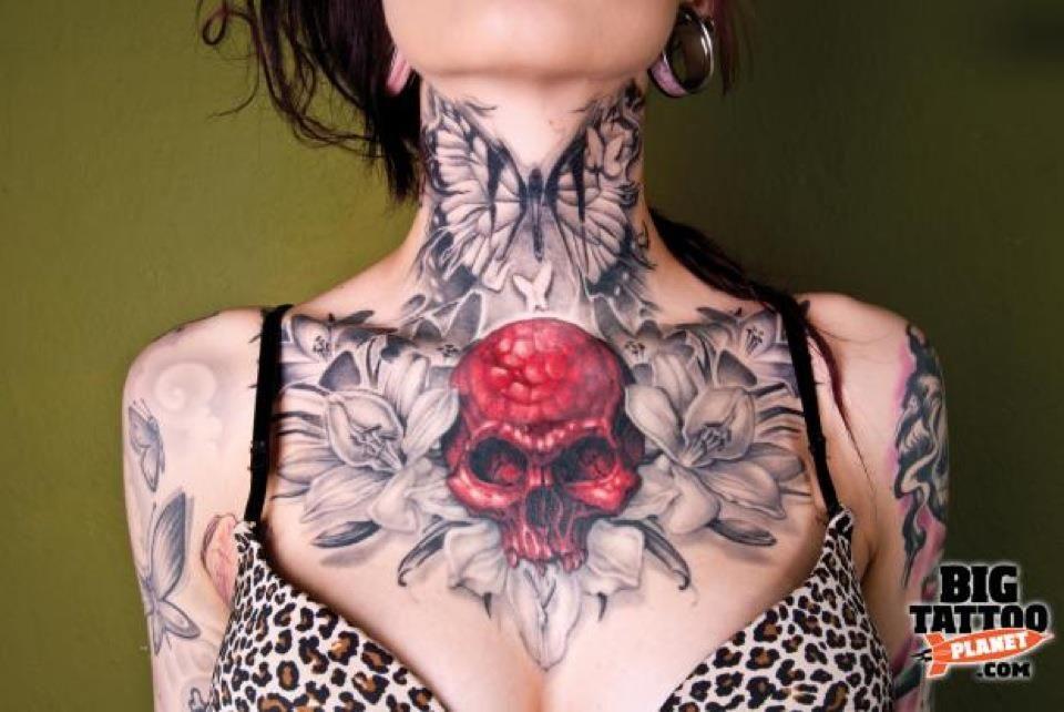 Butterfly Skull Flowers Chest Piece Tattoos Throat Tattoo Neck Tattoo