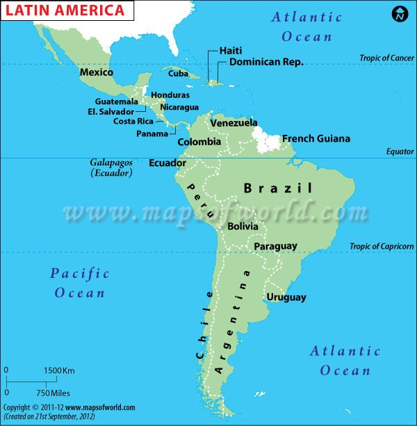 Latin America Map Central America -Cuba, Costa Rica ...
