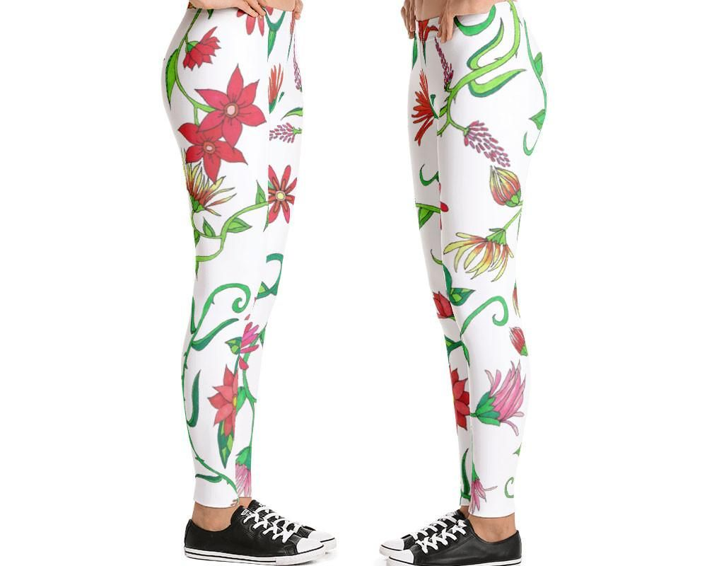 c1ebd1bc262a5c Designer leggings for women in coral and red flower pattern for wearing  every day, or