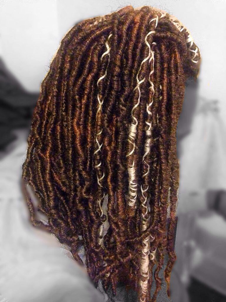 Elegant Faux Locs Done On Iz Using Marley Hair Wrapped With White Yarn For A Pop  Follow On Ig @queen.samari
