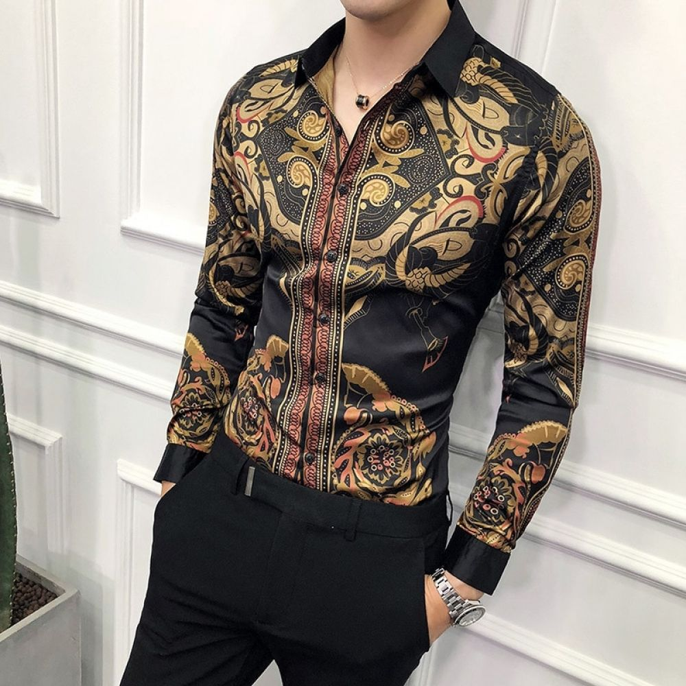 e7344d790 Luxury Gold Black Shirt Men 2018 New Slim Fit Long Sleeve Camisa ...