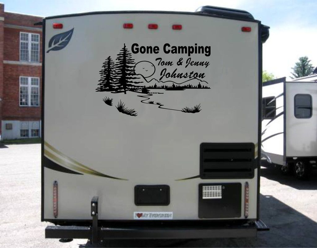 Personalized mountain scene decal for rv travel trailer for Decals for rv mural