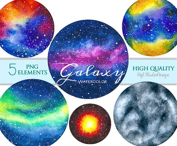 Planet galaxy. Watercolor clipart planets space