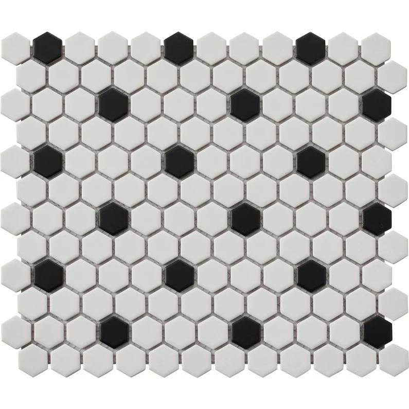 Mosaique Sol Et Mur Hexagon Noir Blanc 2 7 X 2 3 Cm Leroy Merlin Sol Et Mur Carrelage Deco Salle De Bain Toilette