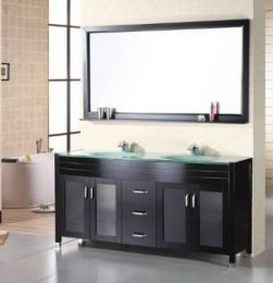 Dec016b Waterfall 72 Double Sink Vanity Set With Tempered Glass Countertop Drop In Gl Double Vanity Bathroom Double Sink Vanity Contemporary Bathroom Vanity