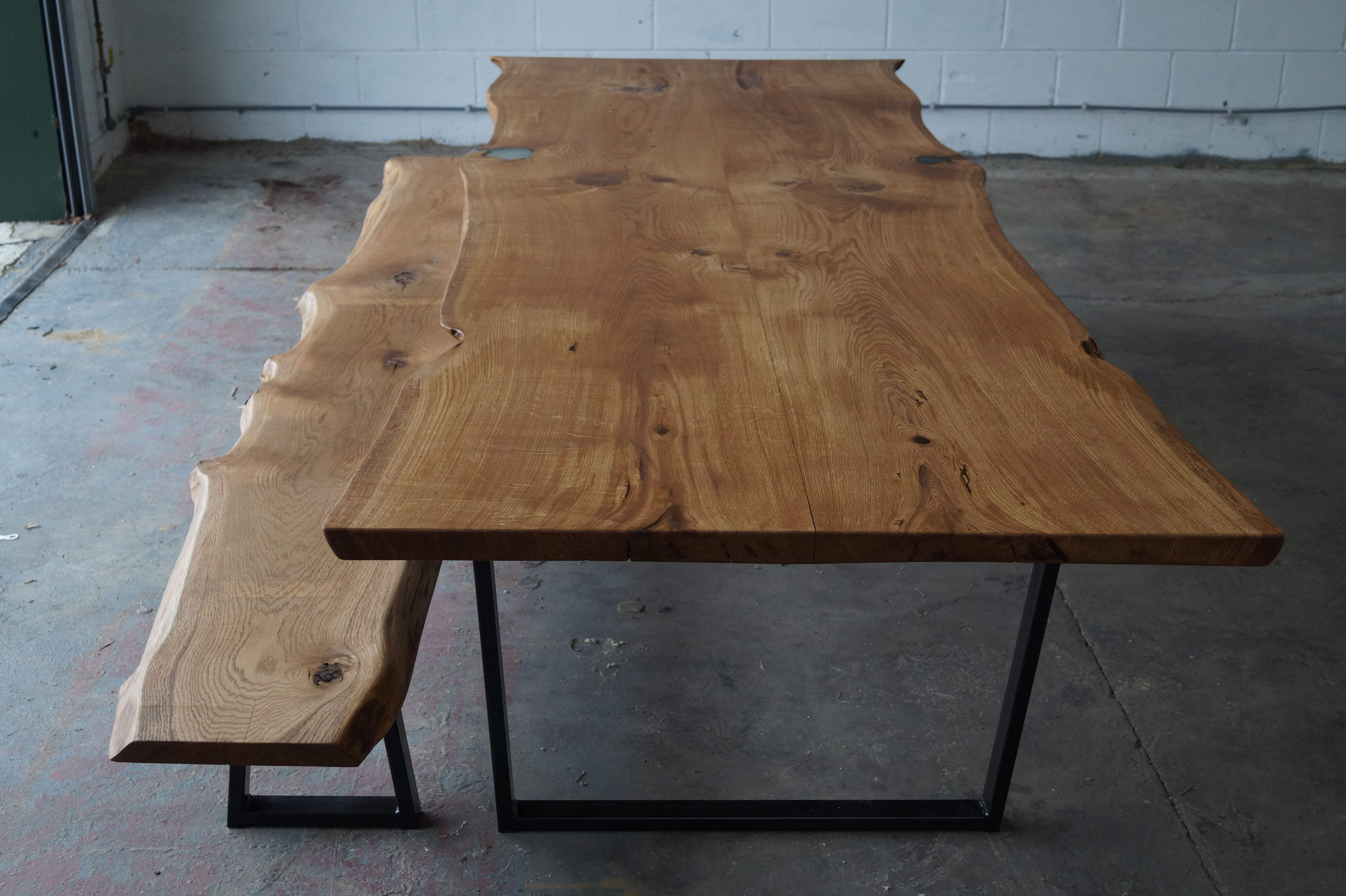 Solid Live Waney Edge Oak Table Bench With Mild Steel Frame Oak Table Steel Dining Table Live Edge Oak Table