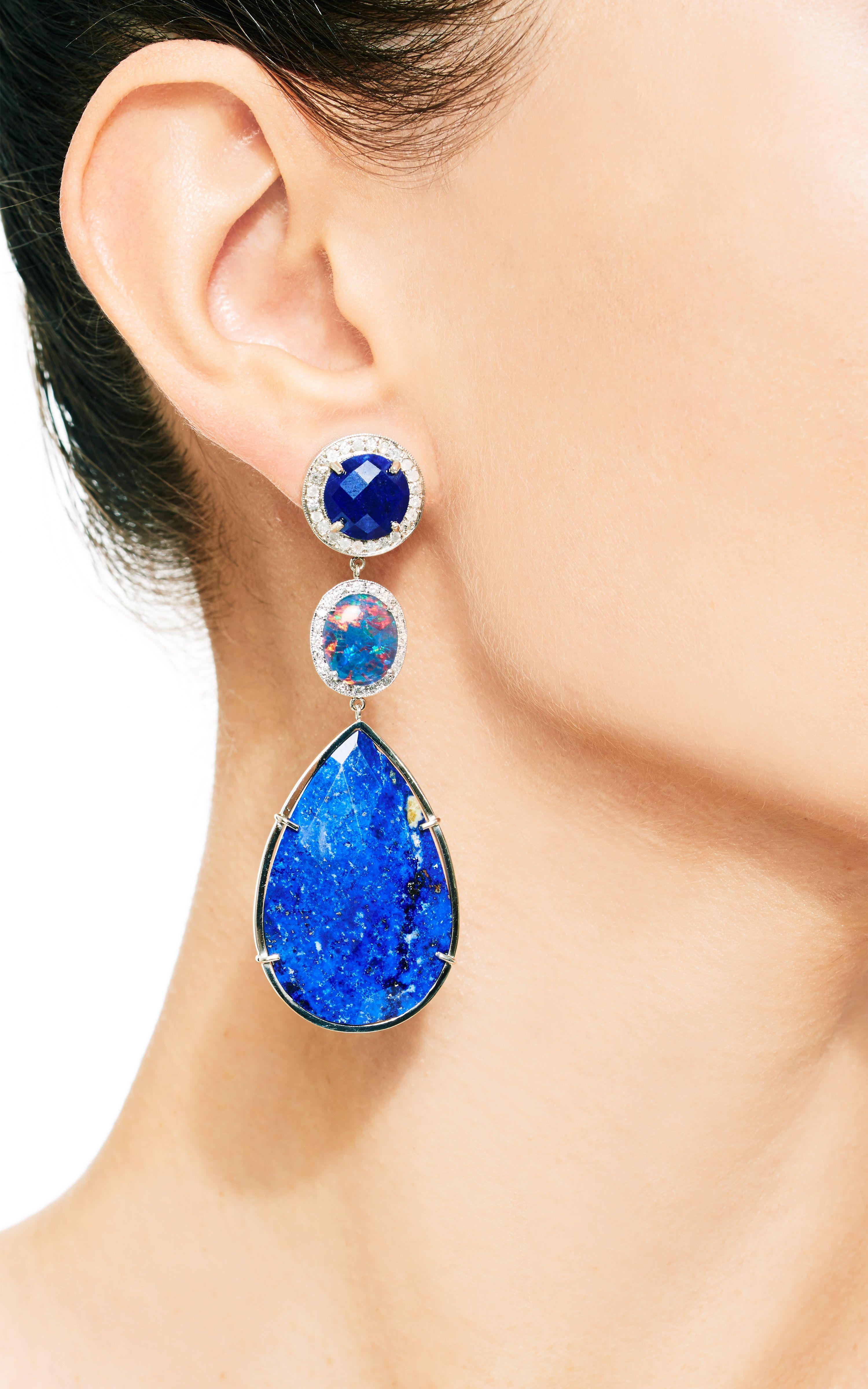 18K Gold Australian Opal and Diamond Earrings by Andrea Fohrman - Moda Operandi