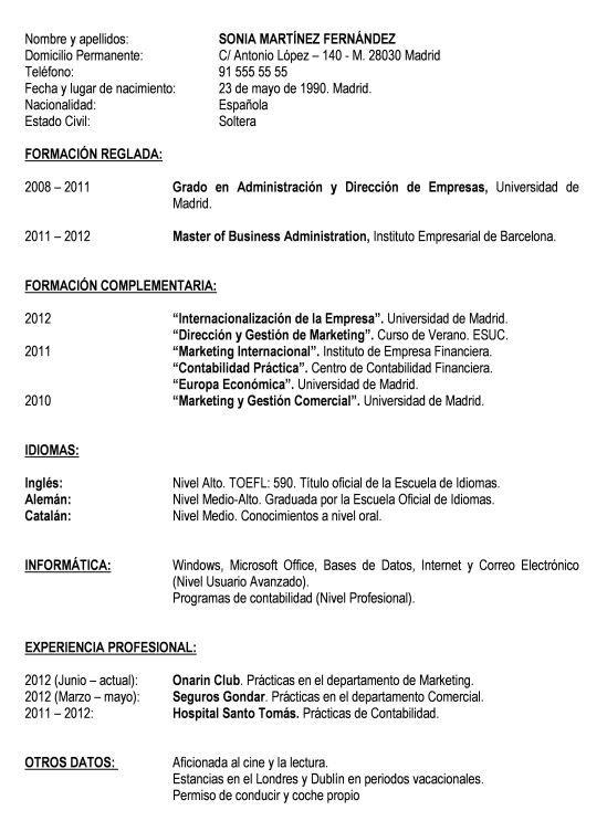 Formato De Resume Stunning Modelo Curriculum Basico  Modelo Curriculum  Angel  Pinterest