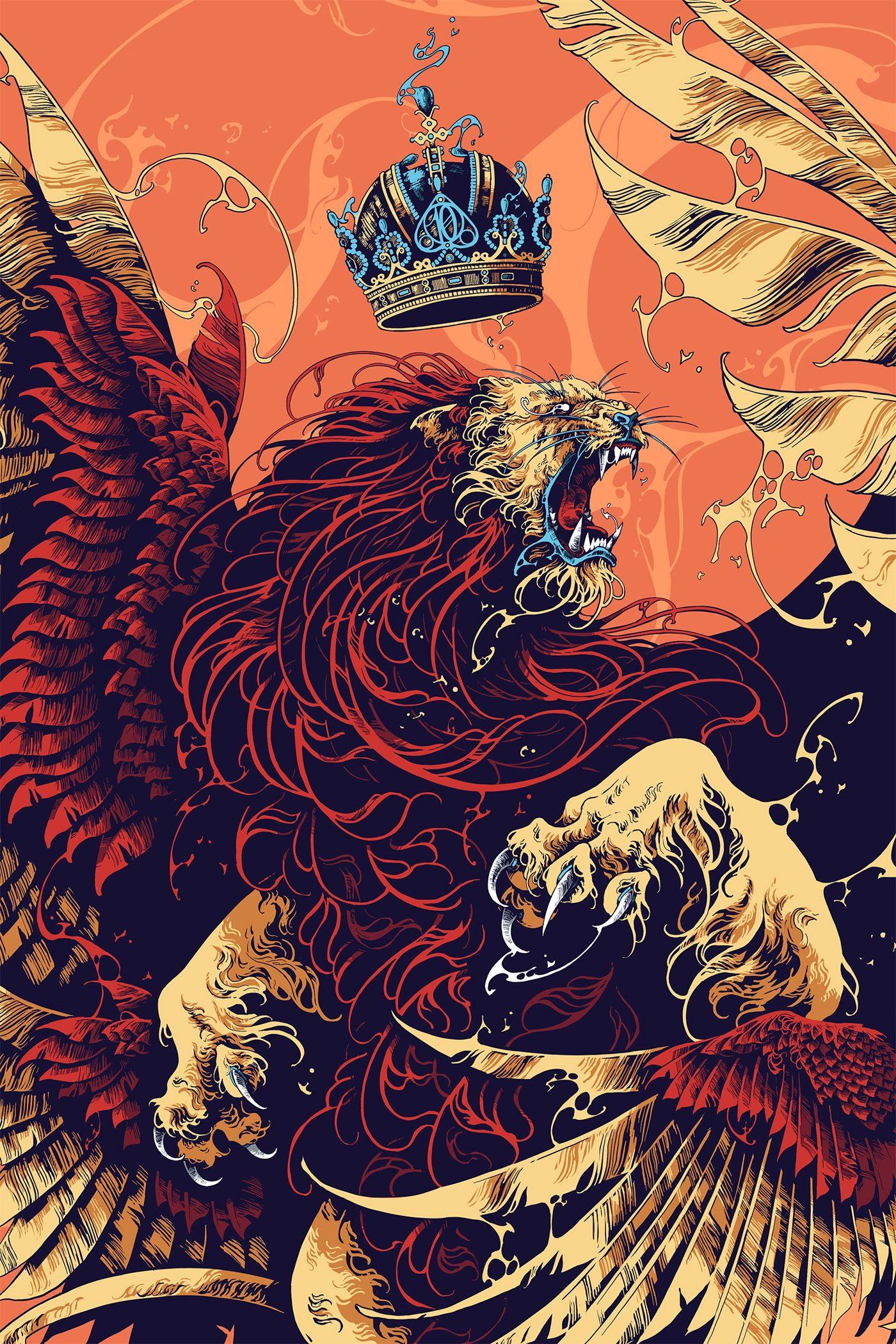 Impericon Festivals 2020 Digital Ipad Pro Procreate Vicious Multi Winged Lion For The 10th A Wallpaper Pisicodelico Ilustracao De Astronauta Arte Fantastica