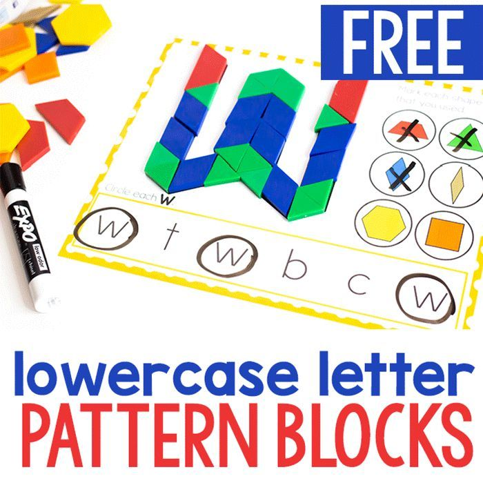 Free Printable Lowercase Alphabet Pattern Block Mats is part of Pattern blocks, Preschool activities, Literacy centers kindergarten, Kindergarten literacy, Pattern blocks activities, Letter recognition - Looking for alphabet activities that your kids can do independently  Something that will keep their attention for longer than five seconds  These free printable lowercase alphabet pattern block mats are perfect! Kids can use the pictures to guide them in creating each letter of the alphabet, match the shapes and find the letters that match