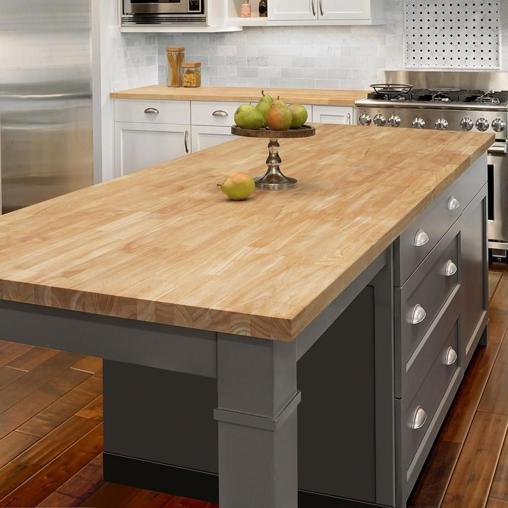Hampton Bay 6 Ft 2 In L X 3 Ft 3 In D X 1 5 In T Island Butcher Block Countertop In Unfinished Hevea Wood Rw3974 Interior Design Kitchen Contemporary Kitchen Kitchen Renovation