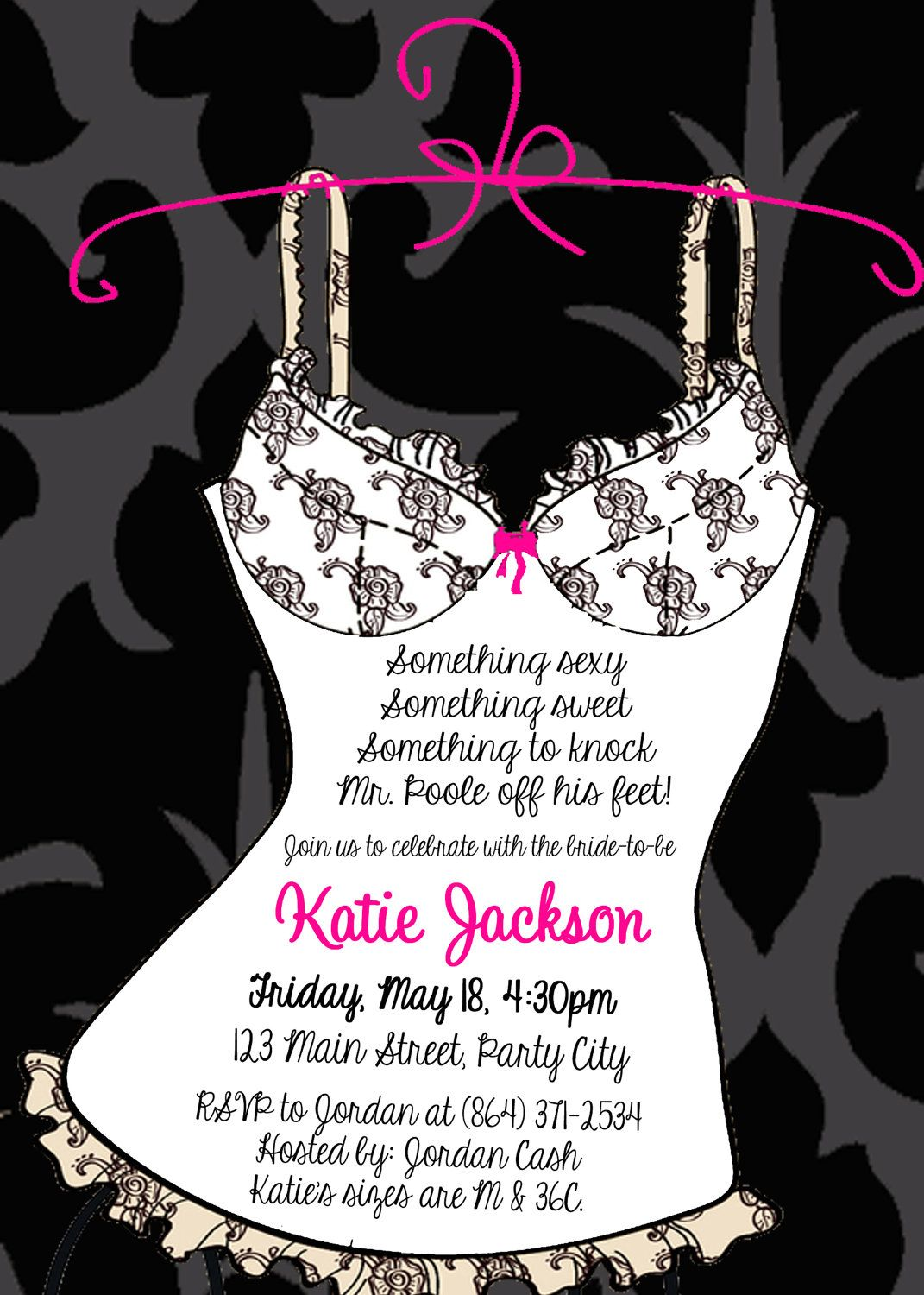 Lingerie Shower InvitationDIGITAL FILE by makeitpersonalforyou – Lingerie Party Invitation