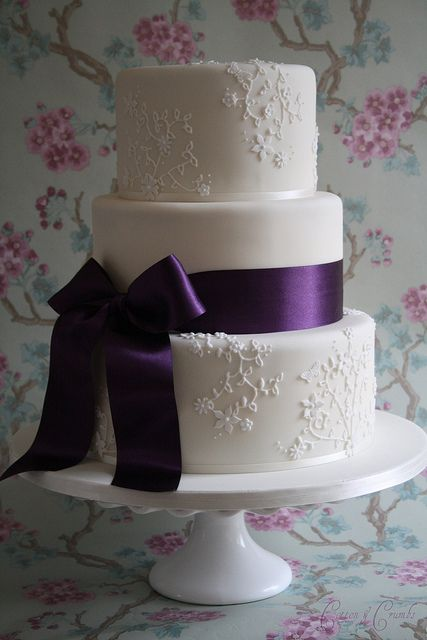 Elegant Lace 3 Tier Purple Wedding Cakes Elegant Wedding Cakes