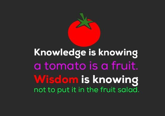Knowledge Is Knowing A Tomato Is A Fruit. Wisdom Is