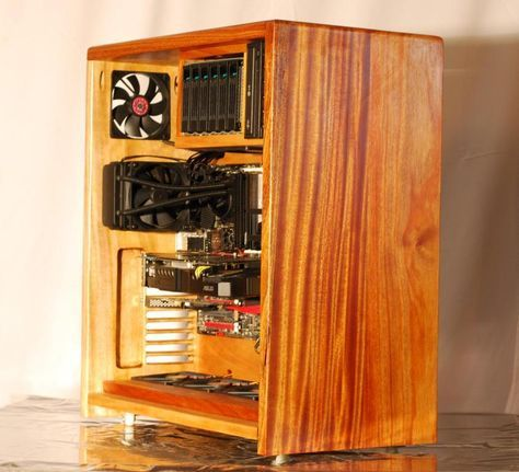 Solid Mahogony Wood Pc Case Wood Computer Case Diy Pc Case Diy Computer Case