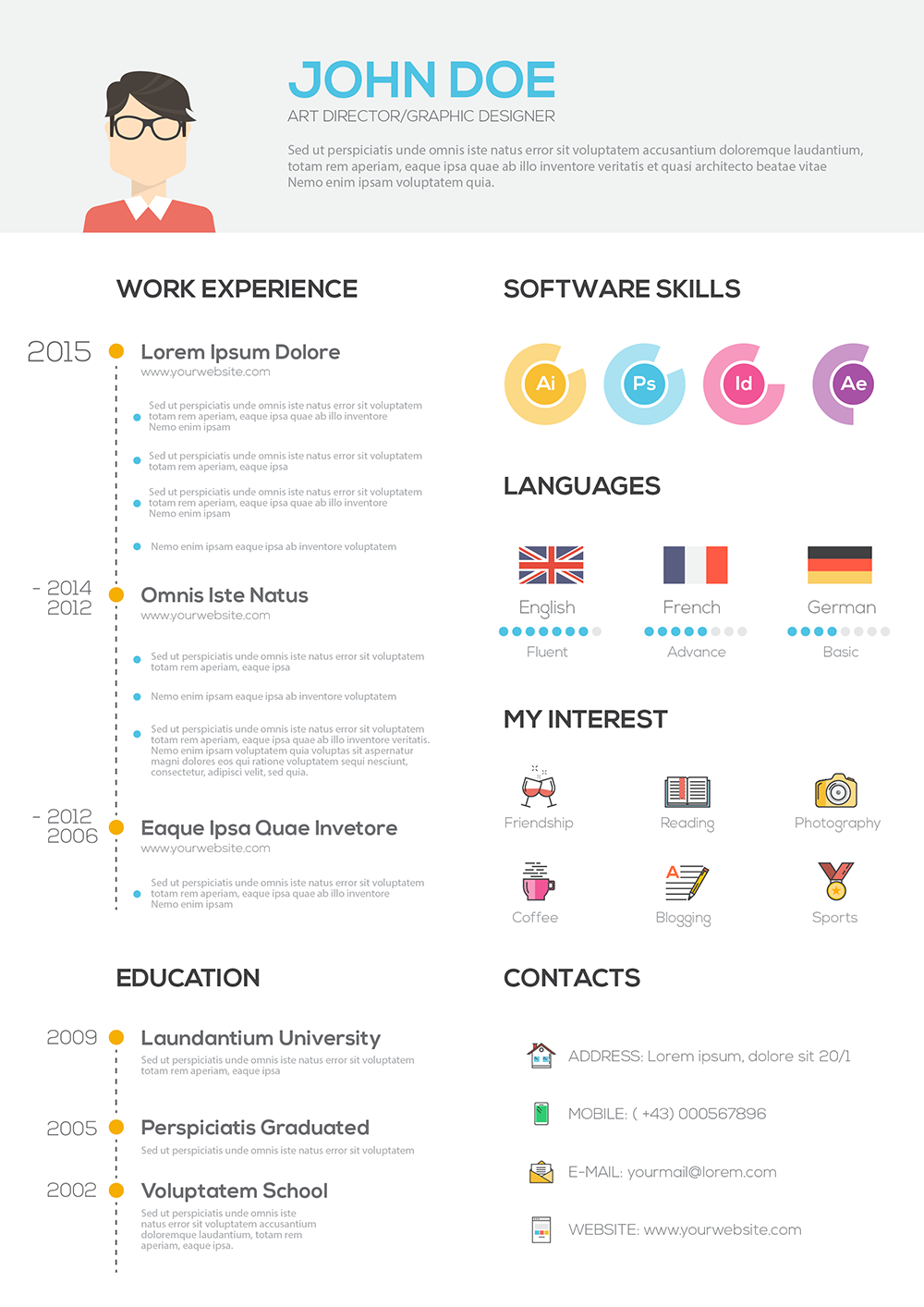flat resume with infographics  resume cv set on behance