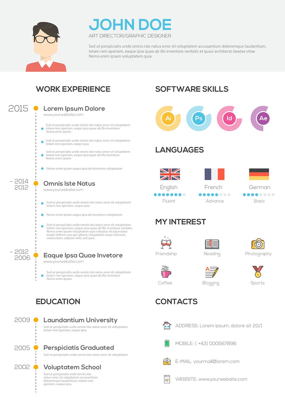 Flat Resume With Infographics Resume Cv Set On Behance Cv Kreatif Desain Cv Kreatif