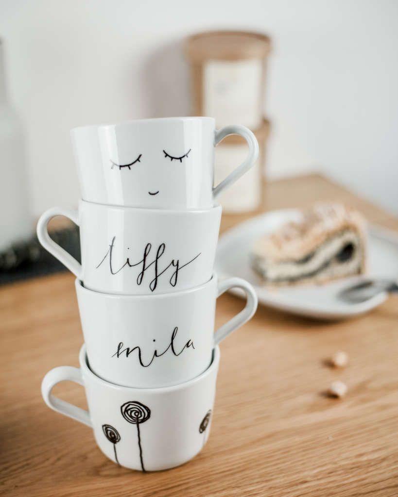 Lieblingstassen Selbstgemacht Tiffy Ribbon Porzellan Bemalen Tasse Gestalten Tassen Bemalen