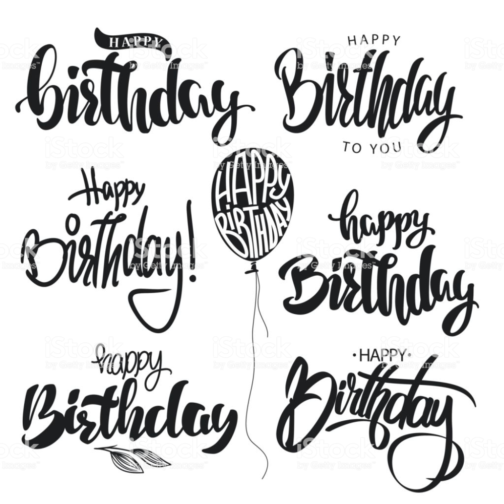 Happy Birthday calligraphy hand lettering set vector.   Alles gute ...