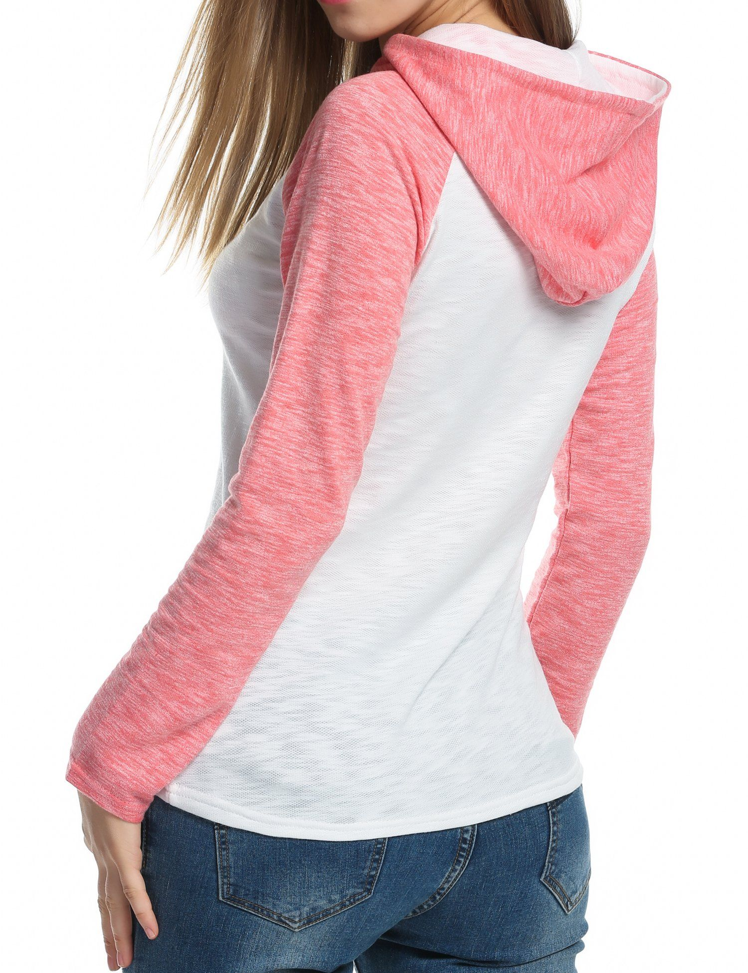 Zeagoo Women's Raglan Sleeve Hooded Pullover Casual Slim Hoodie Sweatshirt (Small, Watermelon Red) -- Awesome products selected by Anna Churchill