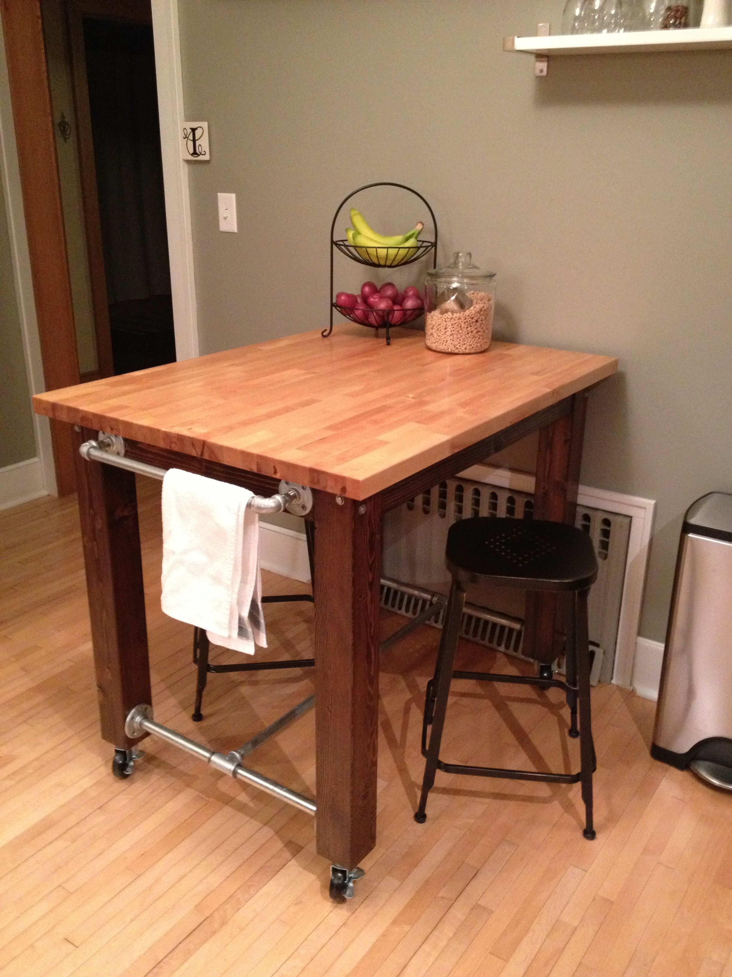 Kitchen Island We Built From Scratch 4x4s A Little Stain Ikea Butcher Block Table Top And