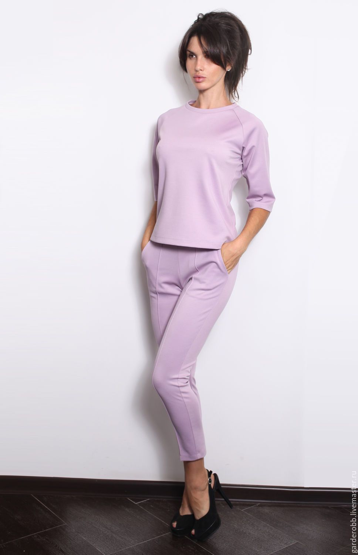 b4f43d8df9c52dc Купить Костюм трикотажный брюки/блуза - сиреневый, однотонный, трикотажный  костюм, трикотажные брюки, трикотажная блузка