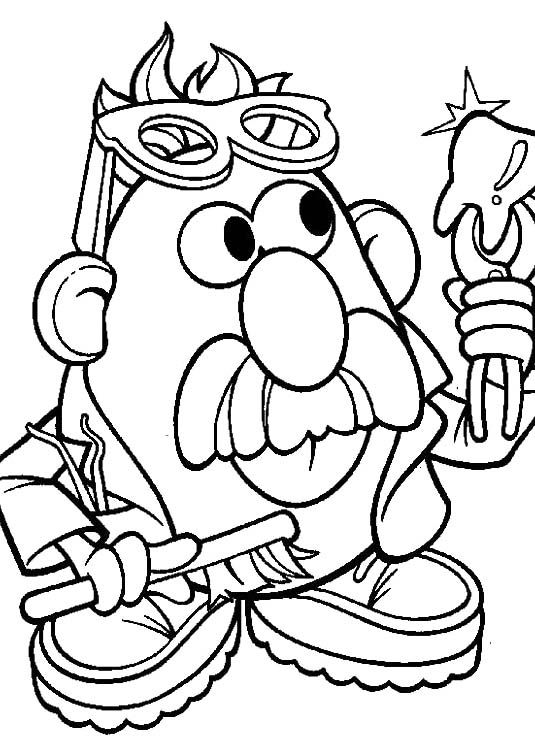 Potato Head Wearing Glasses Blank Coloring Pages | Coloring pages ...