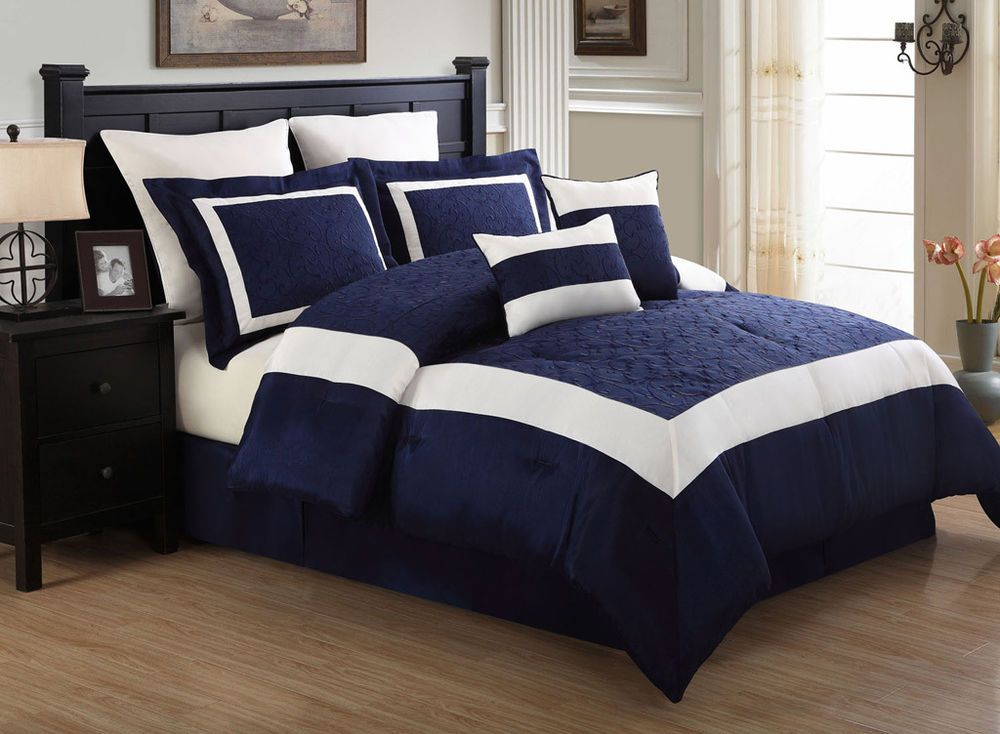 8 Piece Queen Luke Navy And White Embroidered Comforter Set In