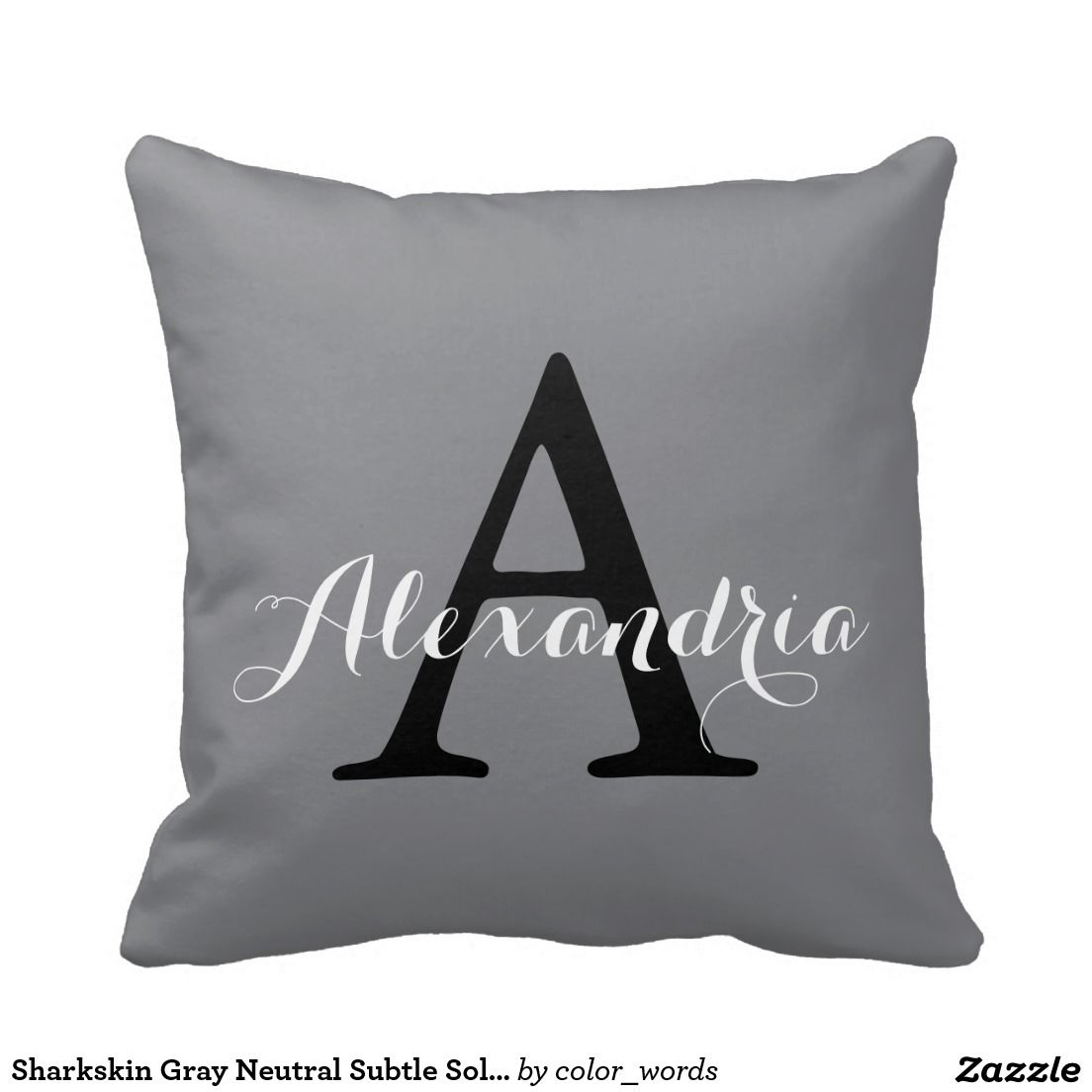 Sharkskin Gray Neutral Subtle Solid Color Monogram Pillow